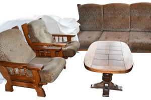 3-zits bank plus 2 fauteuils plus tafel