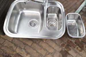 Mooie RVS spoelbak 1.5 incl vergiet en mengkraan Plieger voor keuken blok